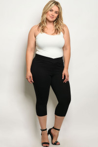 C50-B-4-C7892X BLACK PLUS SIZE CAPRI PANTS 2-2-2