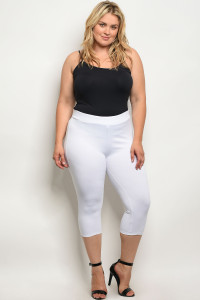 C51-B-2-C7893X WHITE PLUS SIZE CAPRI PANTS 2-2-2