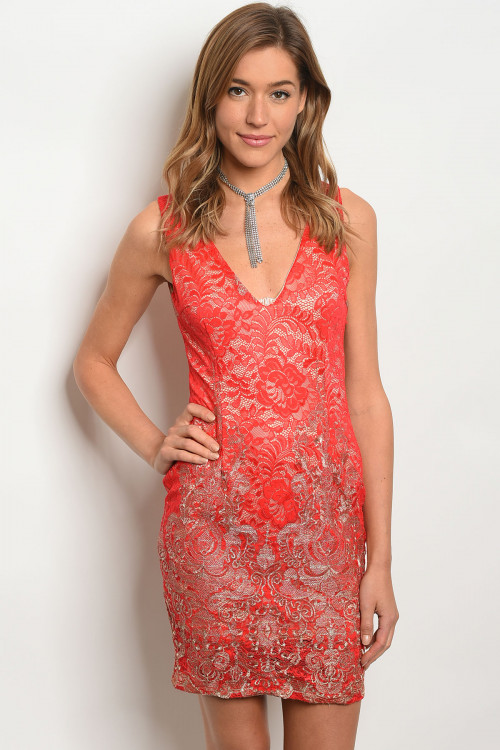 107-2-2-D09060 RED GOLD DRESS 2-2-2