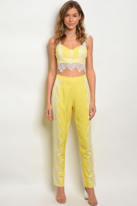 131-2-1-SET02758 YELLOW WHITE BLACK TOP & PANTS SET 2-2-2