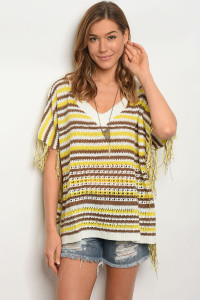 S11-5-1-T2791 YELLOW BROWN STRIPES TOP 2-2-2