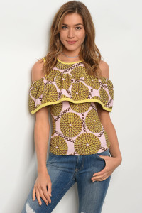 C57-B-4-T3518 YELLOW PINK BROWN TOP 2-2-2