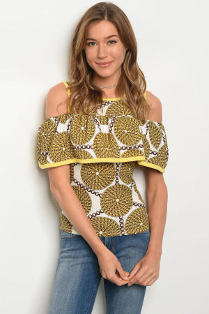 C59-B-3-T3518 YELLOW IVORY BROWN TOP 2-2-2