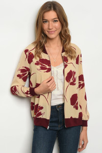 C56-B-4-J27988 CREAM BURGUNDY JACKET 2-2-2