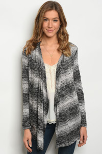 C63-A-3-C75592 BLACK OFF WHITE CARDIGAN 2-2-2