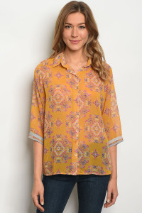 116-3-1-T158 MUSTARD FLORAL TOP 2-2-2