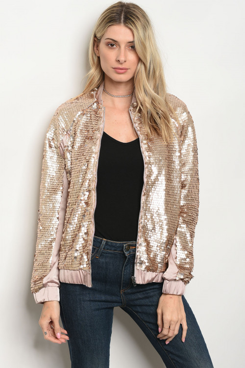 109-4-1-J7107 GOLD SEQUINS BOMBER JACKET 3-2-1