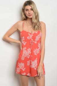 C64-A-4-R47492 CORAL IVORY ROMPER 3-2-1