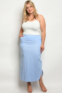 C33-A-3-S7002X LIGHT BLUE STRIPES PLUS SIZE SKIRT 2-2-2