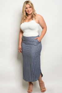 C23-A-6-S7002X NAVY STRIPES PLUS SIZE SKIRT 2-2-2