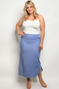 C23-A-6-S7002X BLUE STRIPES PLUS SIZE SKIRT 2-2-2