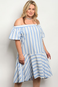 C16-A-1-D3157X WHITE BLUE STRIPES PLUS SIZE DRESS 2-3-2