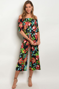 C56-A-2-SET72764 BLACK FLORAL TOP & PANTS SET 2-2-2