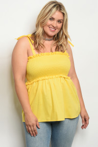 C49-B-2-T5649X YELLOW PLUS SIZE TOP 2-2-2
