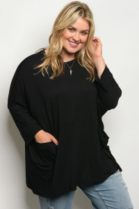 C9-B-3-T557X BLACK PLUS SIZE TOP 2-2-2