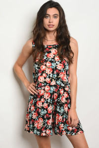 C19-B-3-SET503 BLACK WITH ROSES PRINT TOP & SHORT SET 2-2-2