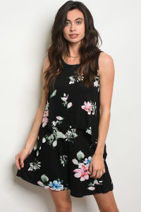 C15-B-4-SET503 BLACK  FLORAL TOP & SHORT SET 2-2-2