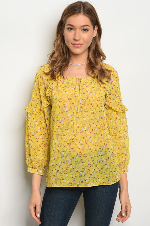 S7-3-3-T81033 YELLOW RED FLORAL TOP 2-2-1