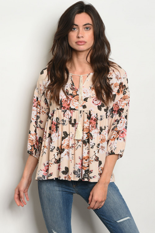 S17-2-1-T2004 TAUPE FLORAL TOP 2-2-2