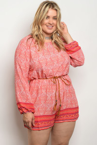 S9-17-3-R6843X CORAL IVORY PLUS SIZE ROMPER 2-2-2