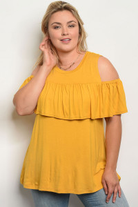 C39-A-4-T1003X MUSTARD PLUS SIZE TOP 2-2-2