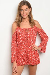 S4-9-4-R7059 RED FLORAL ROMPER 3-2-1