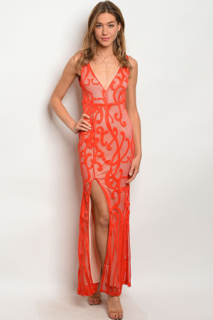 S6-2-4-D8939 RED NUDE DRESS 2-2-2