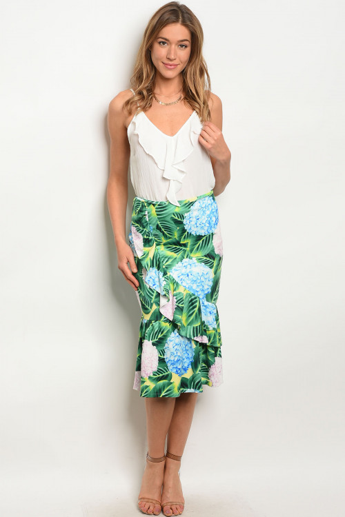 103-5-2-S08796 YELLOW FLORAL SKIRT 3-2-2