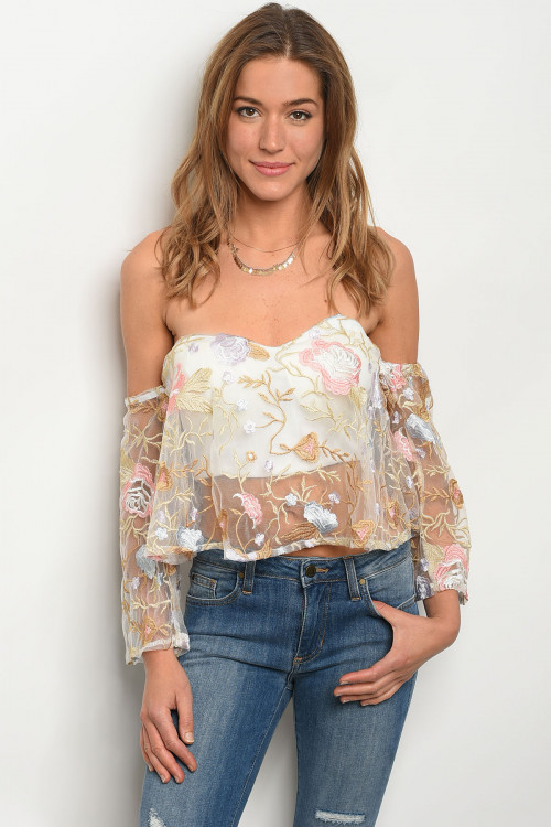 S14-5-4-T05341 IVORY FLORAL TOP 1-1-1