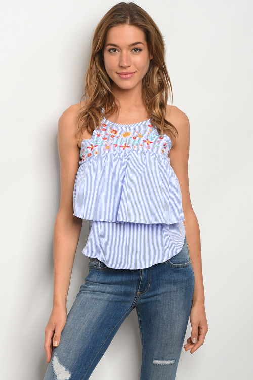 S14-5-4-T07626 WHITE BLUE TOP 1-2-1