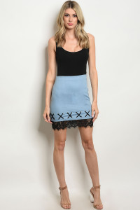 135-4-4-S628 LIGHT BLUE DENIM SKIRT 3-2-1