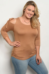 C16-B-3-T20575X TAUPE PLUS SIZE TOP 2-2-3