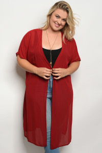 C26-A-3-T653X BURGUNDY PLUS SIZE TOP 2-2-2