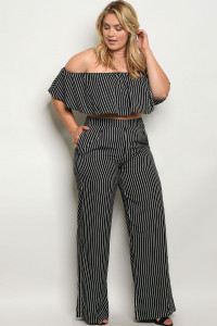 S4-1-2-SET11709X BLACK WHITE STRIPES PLUS SIZE TOP & PANTS SET 3-2-1