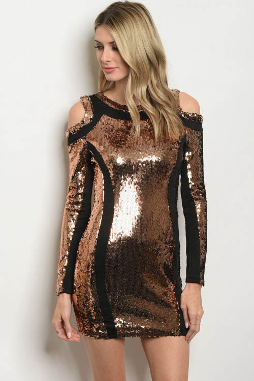 108-5-2-D4753 BLACK WITH BRONZE SEQUINS DRESS 3-2-2