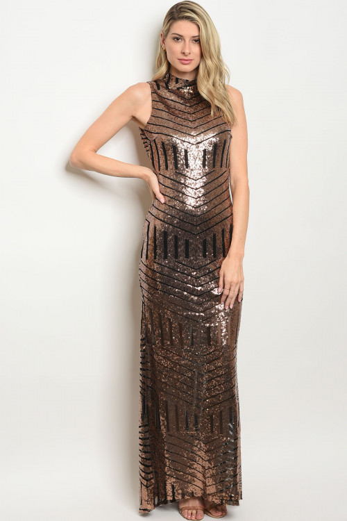 108-5-2-D4925 BLACK WITH BRONZE SEQUINS DRESS 2-2