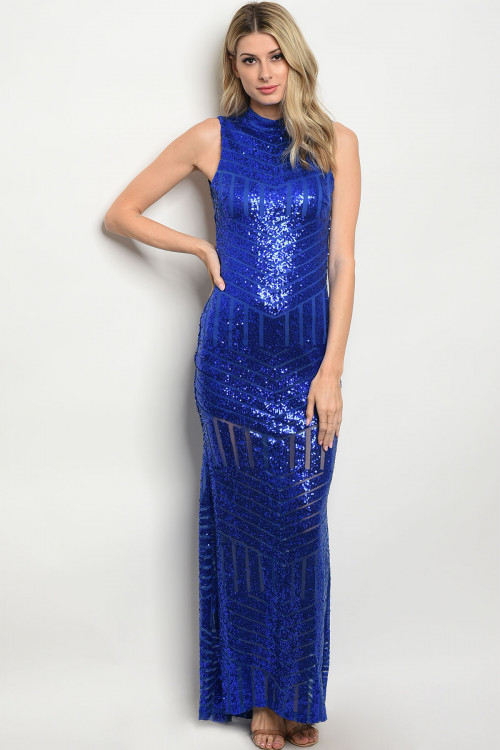 108-5-2-D4925 ROYAL WITH SEQUINS DRESS 3-2-2