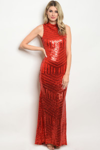 S8-3-3-D4925 RED WITH SEQUINS DRESS 2-2-2