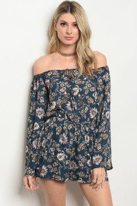 C74-A-2-R664761 TEAL WITH FLOWER PRINT ROMPER 2-2-2