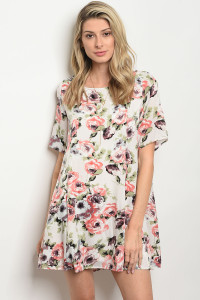 C98-A-2-D66959 IVORY WITH ROSES PRINT DRESS 2-2-2
