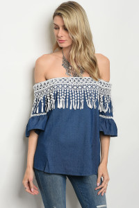 S10-4-2-T2028 BLUE WHITE DENIM TOP 2-2-2