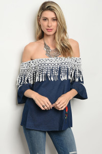 S3-9-4-T2025 NAVY WHITE DENIM TOP 2-2-2