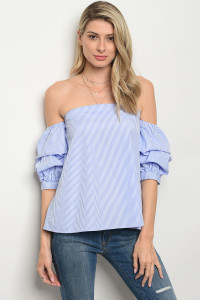 125-1-1-T1755 BLUE WHITE STRIPES TOP 2-2-2