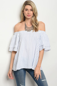 C88-B-3-T1584 WHITE BLUE STRIPES TOP 2-2-2