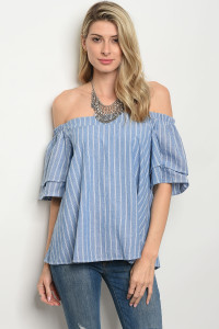 C88-B-4-T1584 BLUE WHITE STRIPES TOP 2-2-2