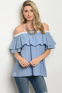 C90-B-5-T1781 BLUE WHITE STRIPES TOP 2-2-2