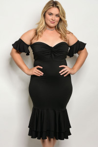C12-A-2-D6979X BLACK PLUS SIZE DRESS 2-2-2