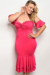 C12-A-2-D6979X FUCHSIA PLUS SIZE DRESS 2-2-2
