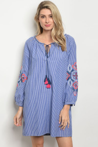 S4-9-2-D5147 BLUE WHITE STRIPES DRESS 2-2-2