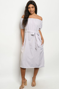 S4-9-2-D1010 LILAC WHITE STRIPES DRESS 2-2-2